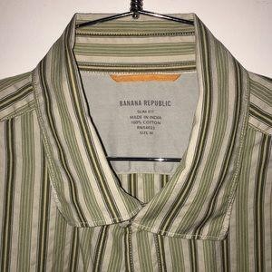 Banana Republic- M Light Green/Brown Striped Shirt